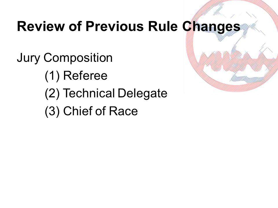 Review of Previous Rule Changes Jury Composition (1) Referee (2) Technical Delegate (3) Chief of Race