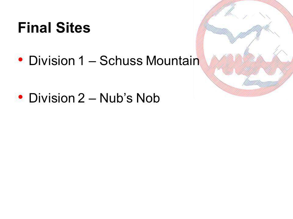 Final Sites Division 1 – Schuss Mountain Division 2 – Nubs Nob