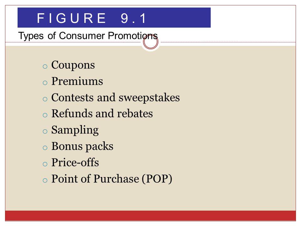 o Coupons o Premiums o Contests and sweepstakes o Refunds and rebates o Sampling o Bonus packs o Price-offs o Point of Purchase (POP) F I G U R E 9.