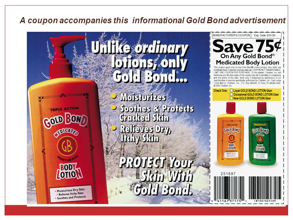 A coupon accompanies this informational Gold Bond advertisement