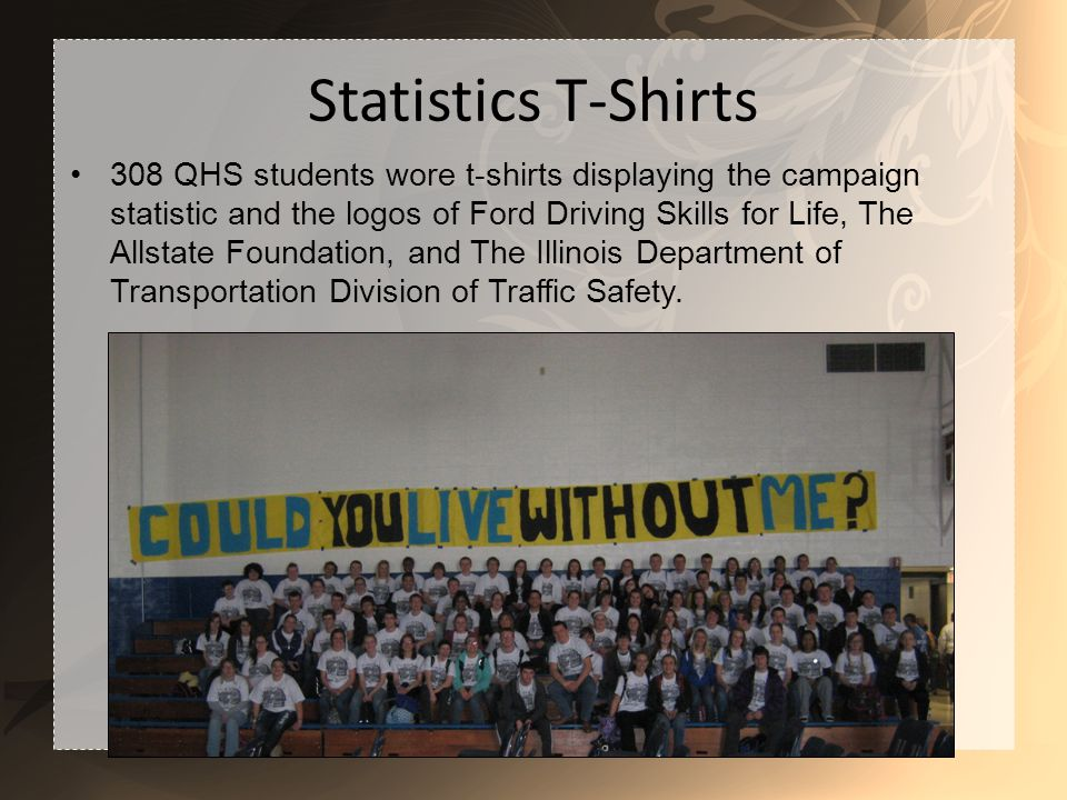 Statistics T-Shirts 308 QHS students wore t-shirts displaying the campaign statistic and the logos of Ford Driving Skills for Life, The Allstate Foundation, and The Illinois Department of Transportation Division of Traffic Safety.