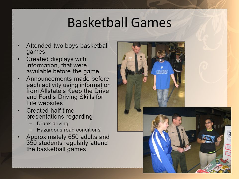Basketball Games Attended two boys basketball games Created displays with information, that were available before the game Announcements made before each activity using information from Allstates Keep the Drive and Fords Driving Skills for Life websites Created half time presentations regarding –Drunk driving –Hazardous road conditions Approximately 650 adults and 350 students regularly attend the basketball games