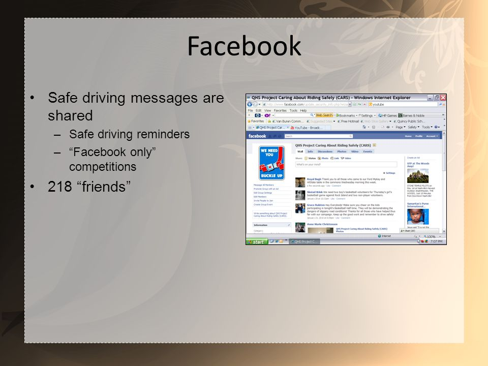 Facebook Safe driving messages are shared –Safe driving reminders –Facebook only competitions 218 friends