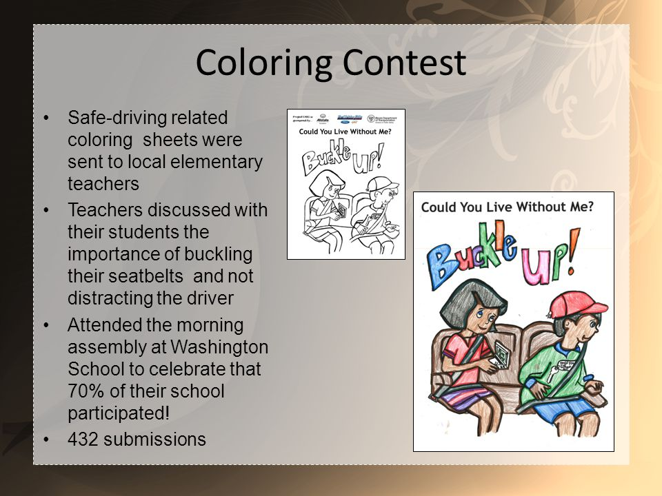 Coloring Contest Safe-driving related coloring sheets were sent to local elementary teachers Teachers discussed with their students the importance of buckling their seatbelts and not distracting the driver Attended the morning assembly at Washington School to celebrate that 70% of their school participated.