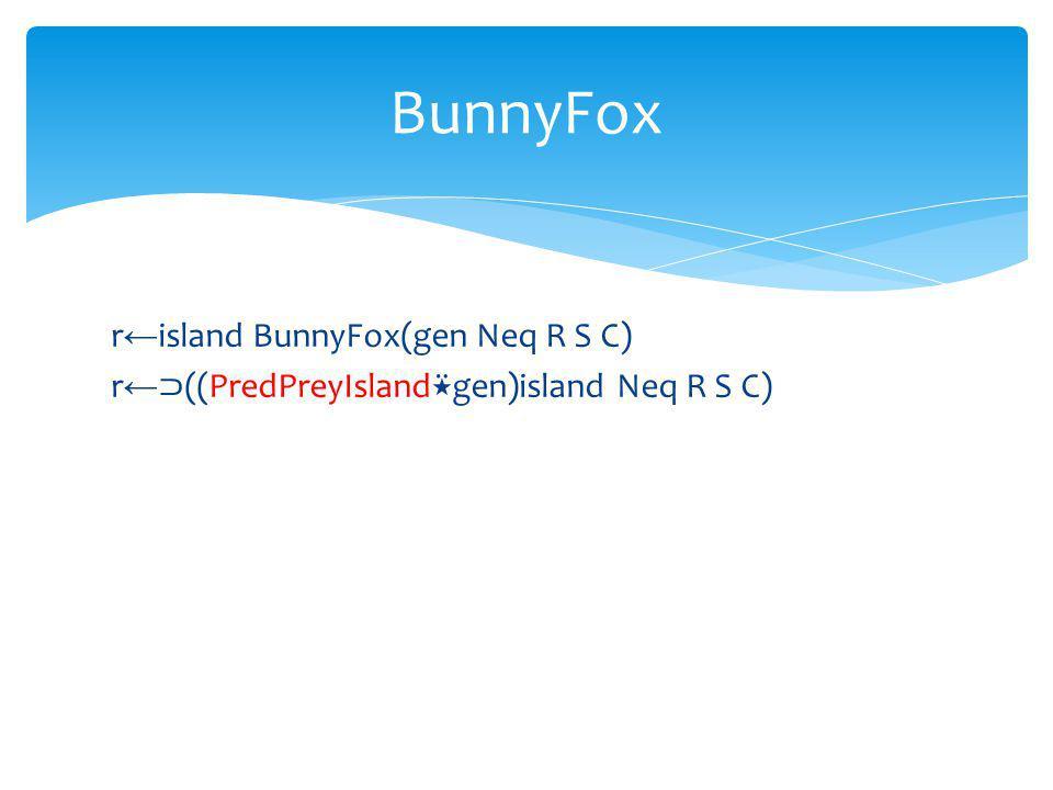 r island BunnyFox(gen Neq R S C) r ((PredPreyIsland gen)island Neq R S C) BunnyFox