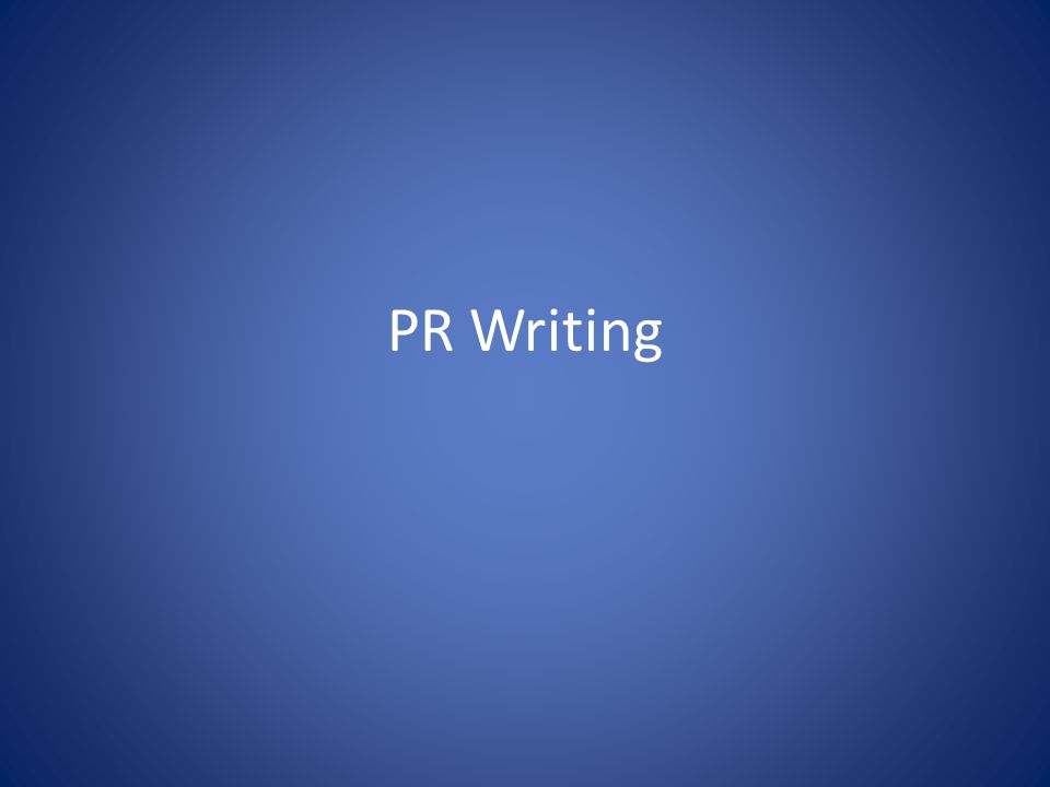 PR Writing