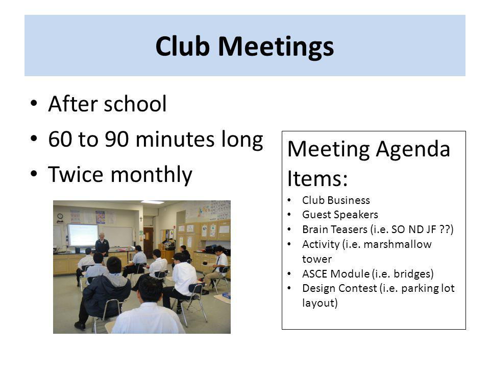 Club Meetings After school 60 to 90 minutes long Twice monthly Meeting Agenda Items: Club Business Guest Speakers Brain Teasers (i.e.