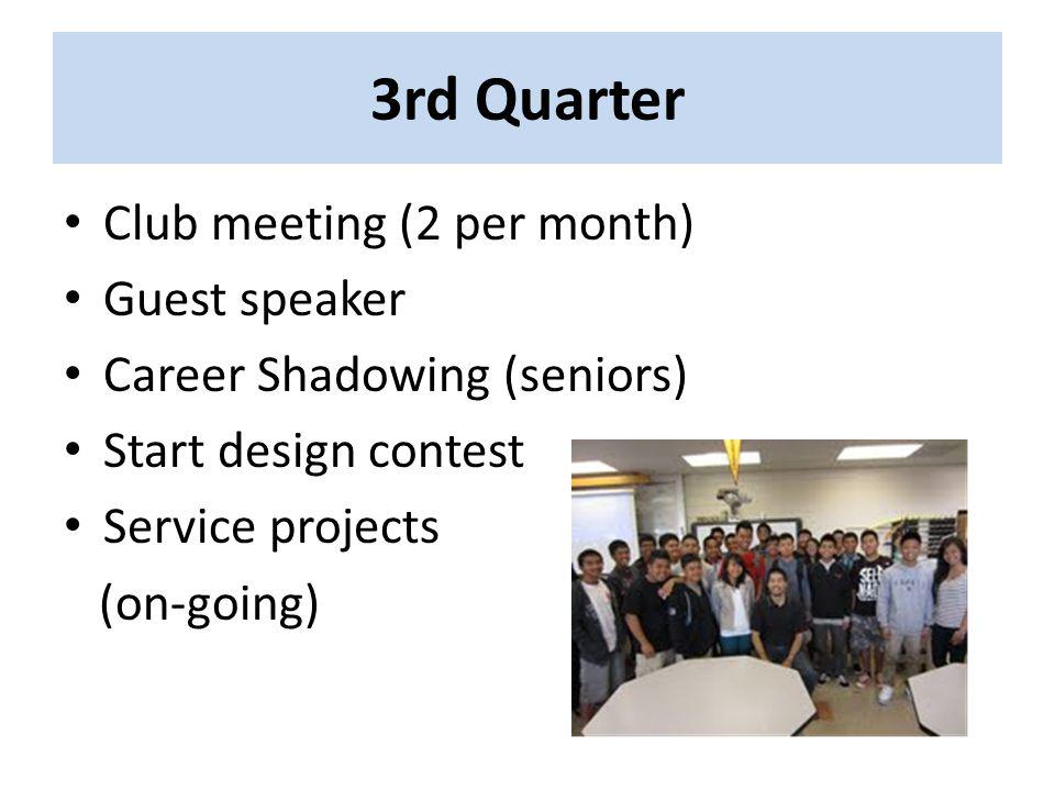 3rd Quarter Club meeting (2 per month) Guest speaker Career Shadowing (seniors) Start design contest Service projects (on-going)