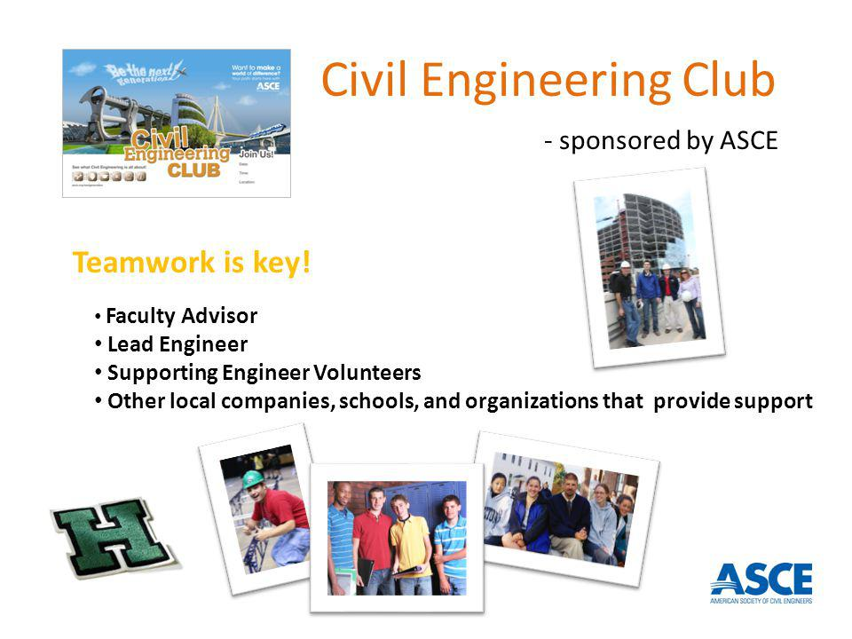 Faculty Advisor Lead Engineer Supporting Engineer Volunteers Other local companies, schools, and organizations that provide support Teamwork is key! C