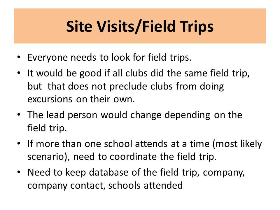 Site Visits/Field Trips Everyone needs to look for field trips.