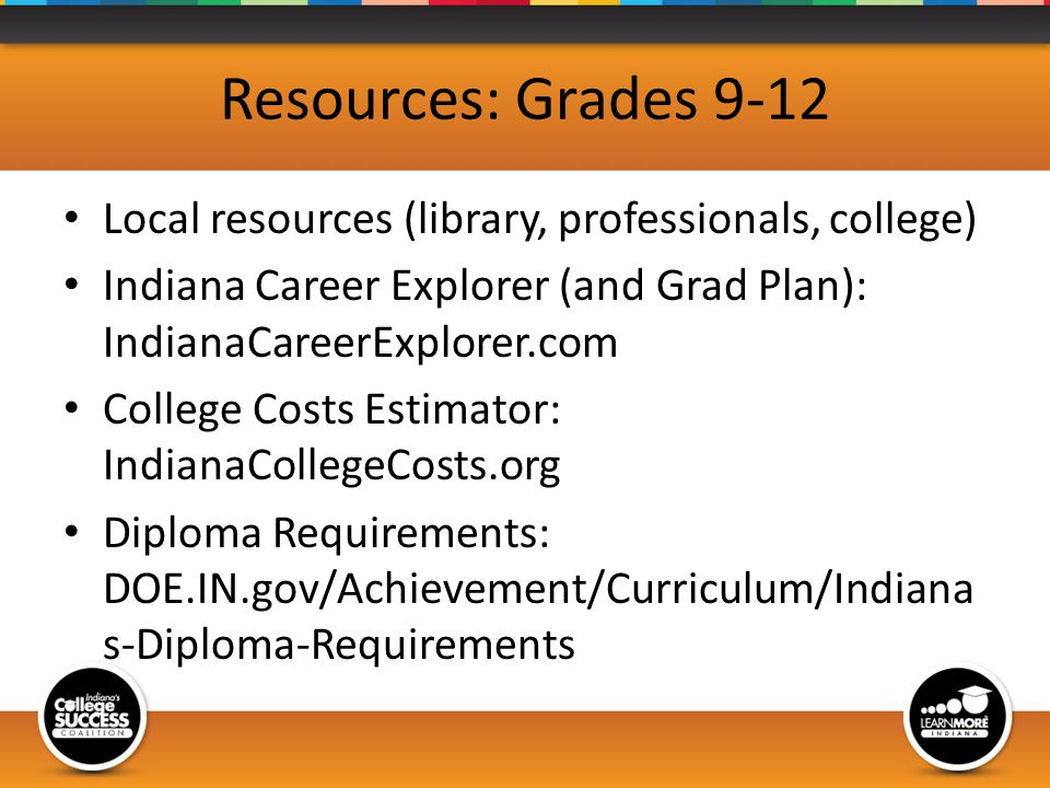 Resources: Grades 9-12 Local resources (library, professionals, college) Indiana Career Explorer (and Grad Plan): IndianaCareerExplorer.com College Costs Estimator: IndianaCollegeCosts.org Diploma Requirements: DOE.IN.gov/Achievement/Curriculum/Indiana s-Diploma-Requirements