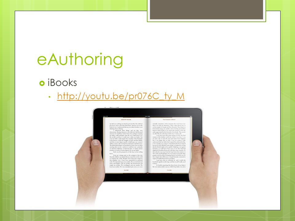 eAuthoring iBooks http://youtu.be/pr076C_ty_M