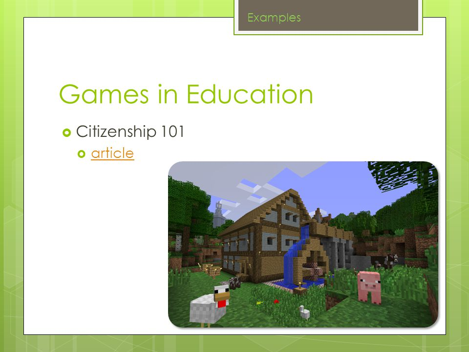 Games in Education Citizenship 101 article Examples