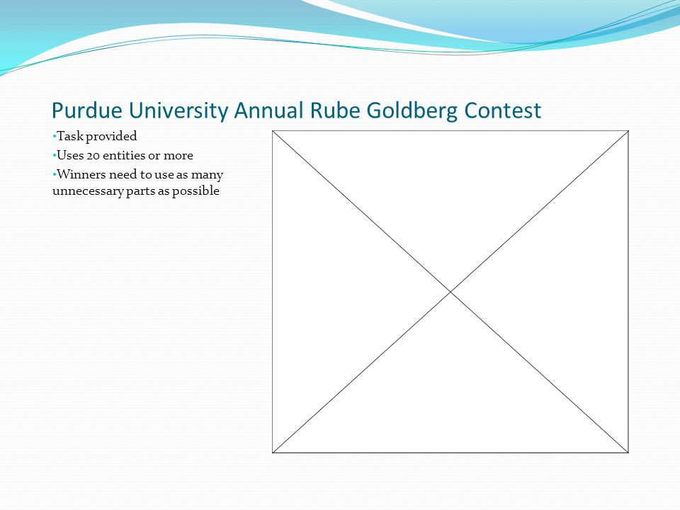 Purdue University Annual Rube Goldberg Contest Task provided Uses 20 entities or more Winners need to use as many unnecessary parts as possible