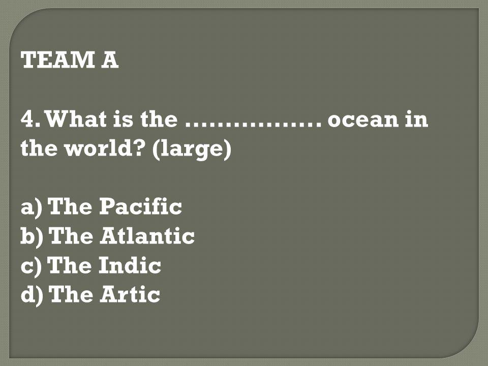 TEAM A 4. What is the …………….. ocean in the world? (large) a) The Pacific b) The Atlantic c) The Indic d) The Artic