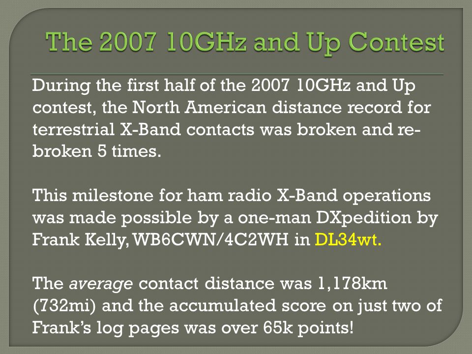 During the first half of the 2007 10GHz and Up contest, the North American distance record for terrestrial X-Band contacts was broken and re- broken 5 times.