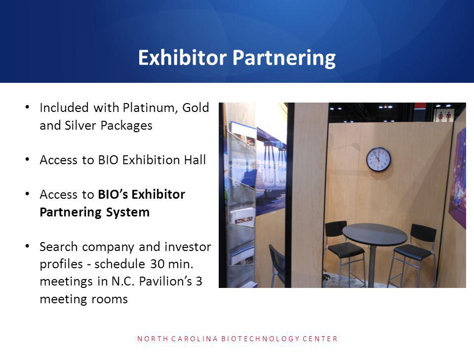 5,430 meetings (25% increase) 87% of these exhibitor meetings took place with Business Forum companies, while 13% were between exhibitors 742 exhibitors participated in partnering (up 5%) N O R T H C A R O L I N A B I O T E C H N O L O G Y C E N T E R 2013 Exhibitor Booth Partnering by the Numbers