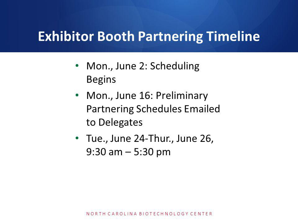 Exhibitor Booth Partnering Resources: http://convention.bio.org/partner/ Partnering Help: BIOpartnering@bio.orgBIOpartnering@bio.org | (202) 962-6666 Twitter: @bio1x1 BIO Webinar Tonight at 8pm (licensing & deal- making) N O R T H C A R O L I N A B I O T E C H N O L O G Y C E N T E R Partnering Help