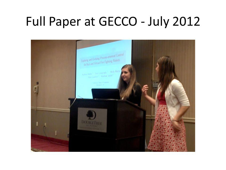 Full Paper at GECCO - July 2012