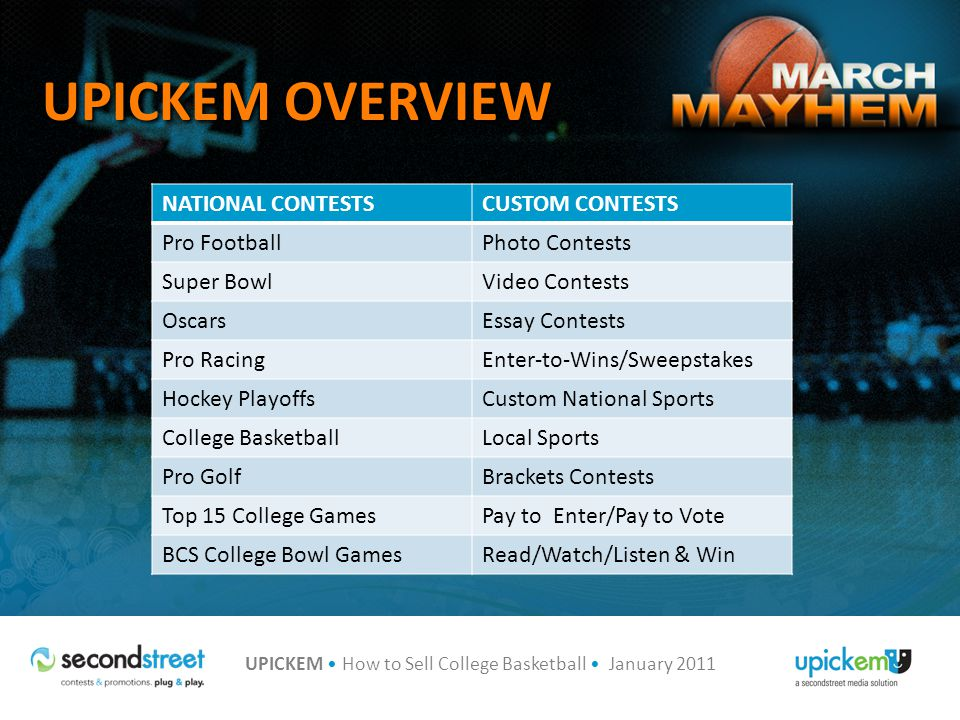 UPICKEM How to Sell College Basketball January 2011 AGENDA College Basketball Contest Overview Revenue Models Additional Tactics New for UPICKEM College Basketball 2011 Q&A