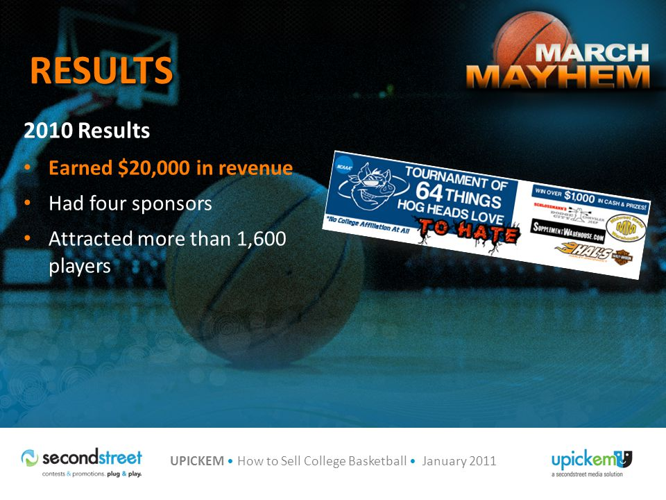 UPICKEM How to Sell College Basketball January 2011 RESULTS 2010 Results Earned $20,000 in revenue Had four sponsors Attracted more than 1,600 players