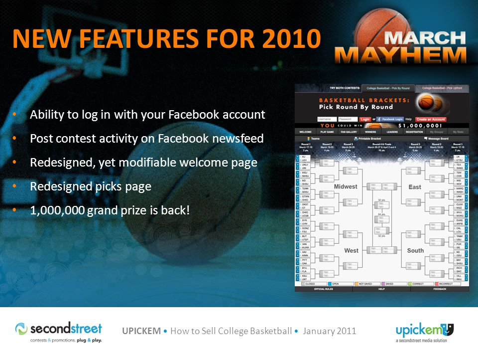NEW FEATURES FOR 2010 Ability to log in with your Facebook account Post contest activity on Facebook newsfeed Redesigned, yet modifiable welcome page Redesigned picks page 1,000,000 grand prize is back!