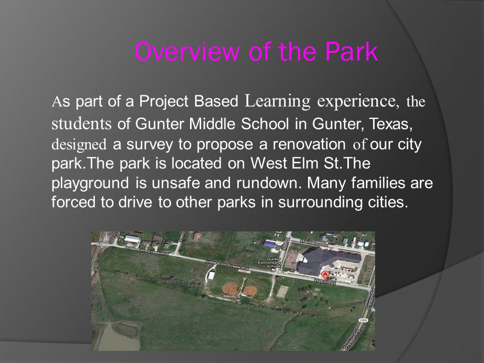 A s part of a Project Based Learning experience, the students of Gunter Middle School in Gunter, Texas, designed a survey to propose a renovation of o