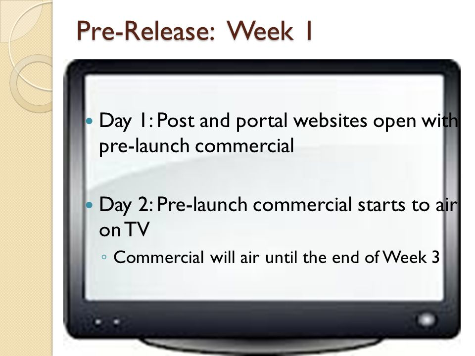 Pre-Release: Week 1 Day 1: Post and portal websites open with pre-launch commercial Day 2: Pre-launch commercial starts to air on TV Commercial will air until the end of Week 3