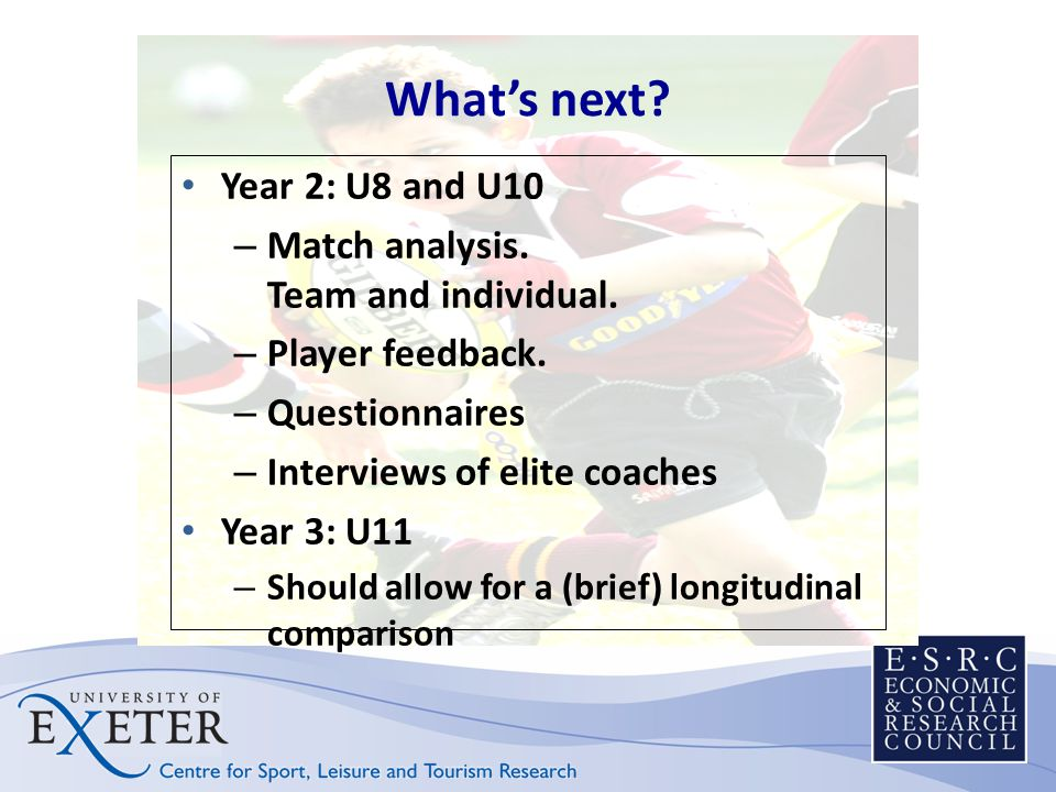 Whats next? Year 2: U8 and U10 – Match analysis. Team and individual. – Player feedback. – Questionnaires – Interviews of elite coaches Year 3: U11 –