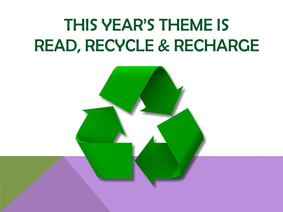 THIS YEARS THEME IS READ, RECYCLE & RECHARGE