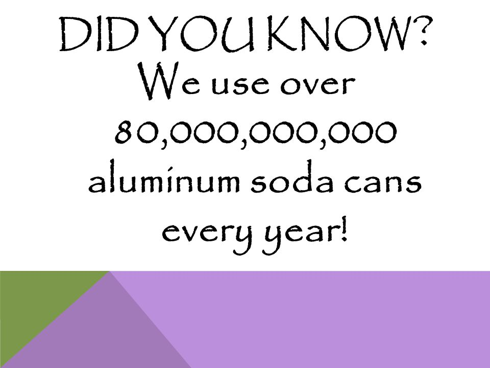 DID YOU KNOW ? We use over 80,000,000,000 aluminum soda cans every year!