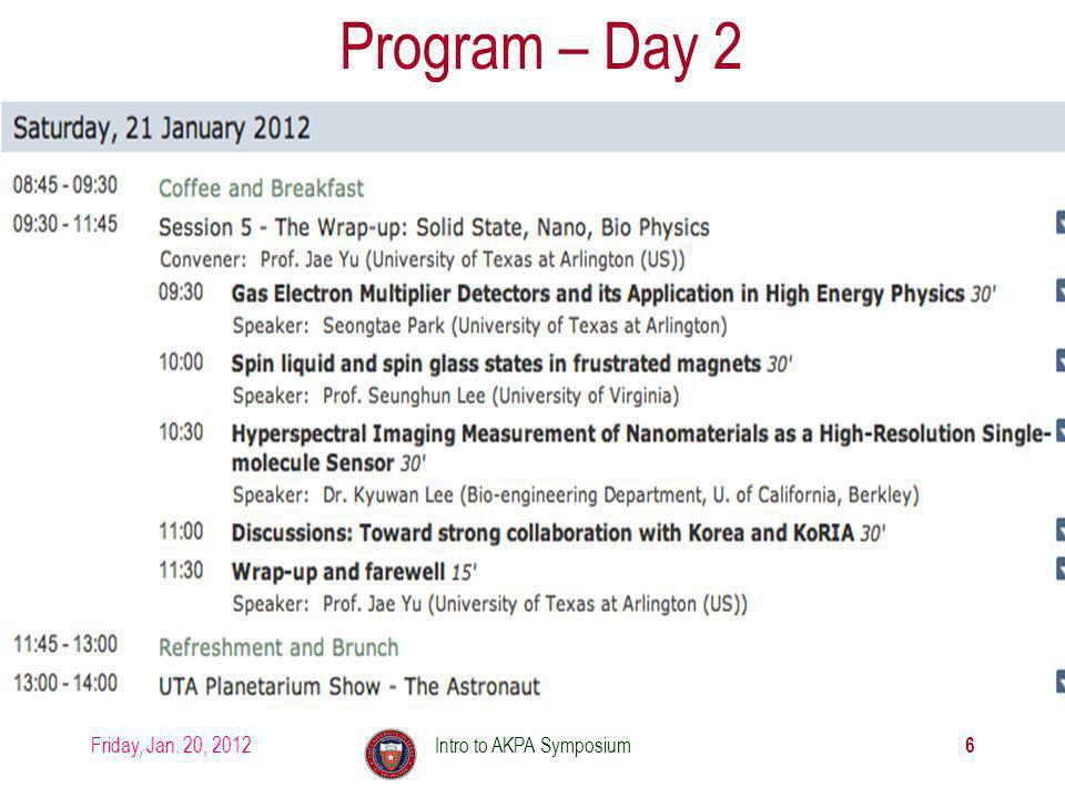Friday, Jan. 20, 2012Intro to AKPA Symposium 6 Program – Day 2