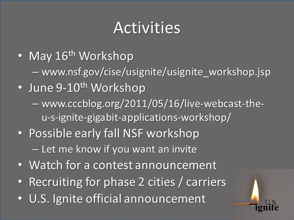 ignite U.S. Activities May 16 th Workshop May 16 th Workshop – www.nsf.gov/cise/usignite/usignite_workshop.jsp June 9-10 th Workshop June 9-10 th Work