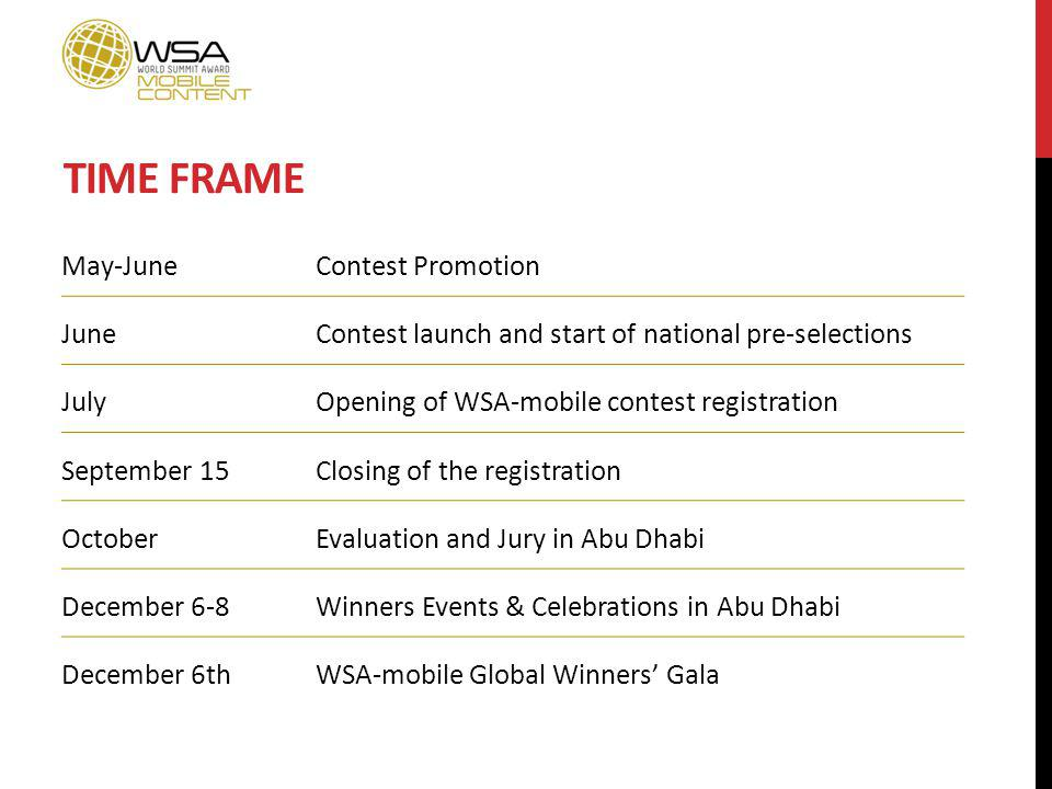 TIME FRAME May-JuneContest Promotion JuneContest launch and start of national pre-selections JulyOpening of WSA-mobile contest registration September 15Closing of the registration OctoberEvaluation and Jury in Abu Dhabi December 6-8Winners Events & Celebrations in Abu Dhabi December 6thWSA-mobile Global Winners Gala