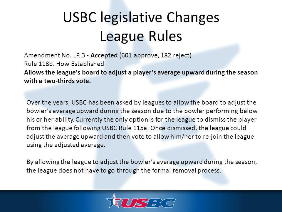Amendment No. LR 3 - Accepted (601 approve, 182 reject) Rule 118b.