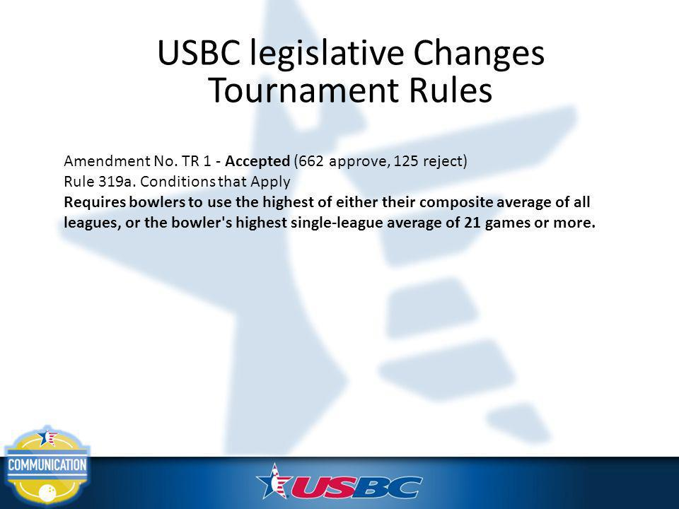 USBC legislative Changes Tournament Rules Amendment No. TR 1 - Accepted (662 approve, 125 reject) Rule 319a. Conditions that Apply Requires bowlers to