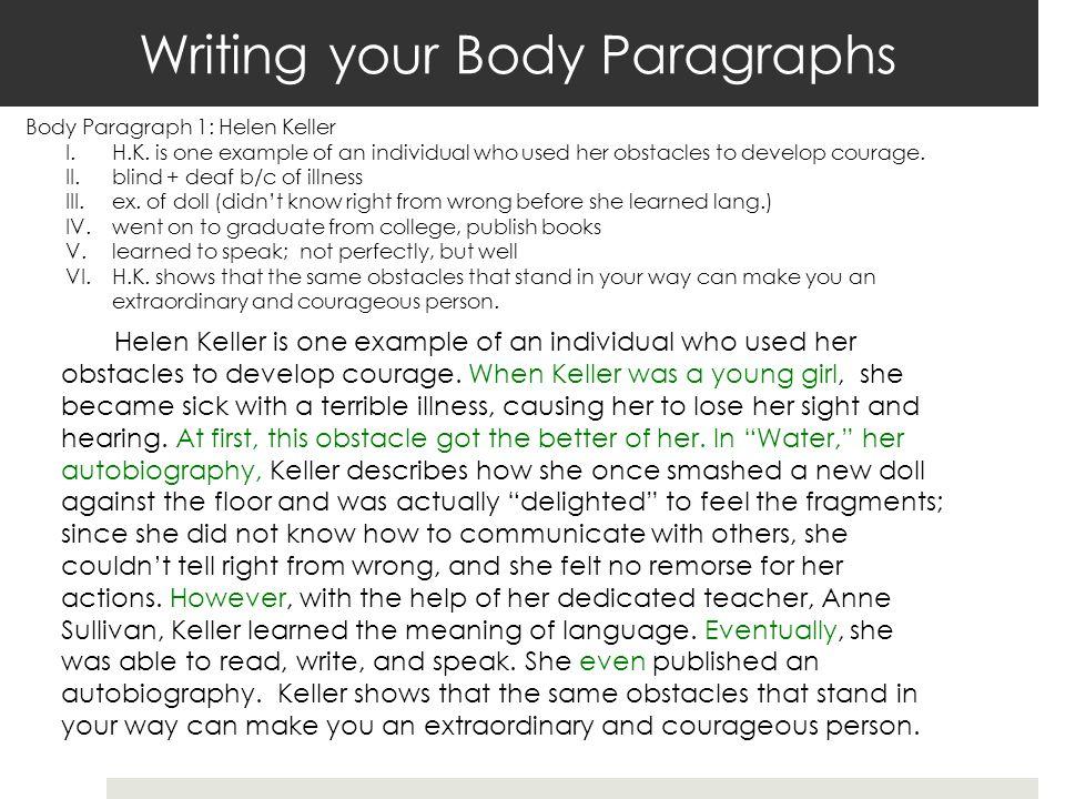 Writing your Body Paragraphs Body Paragraph 1: Helen Keller I.H.K.