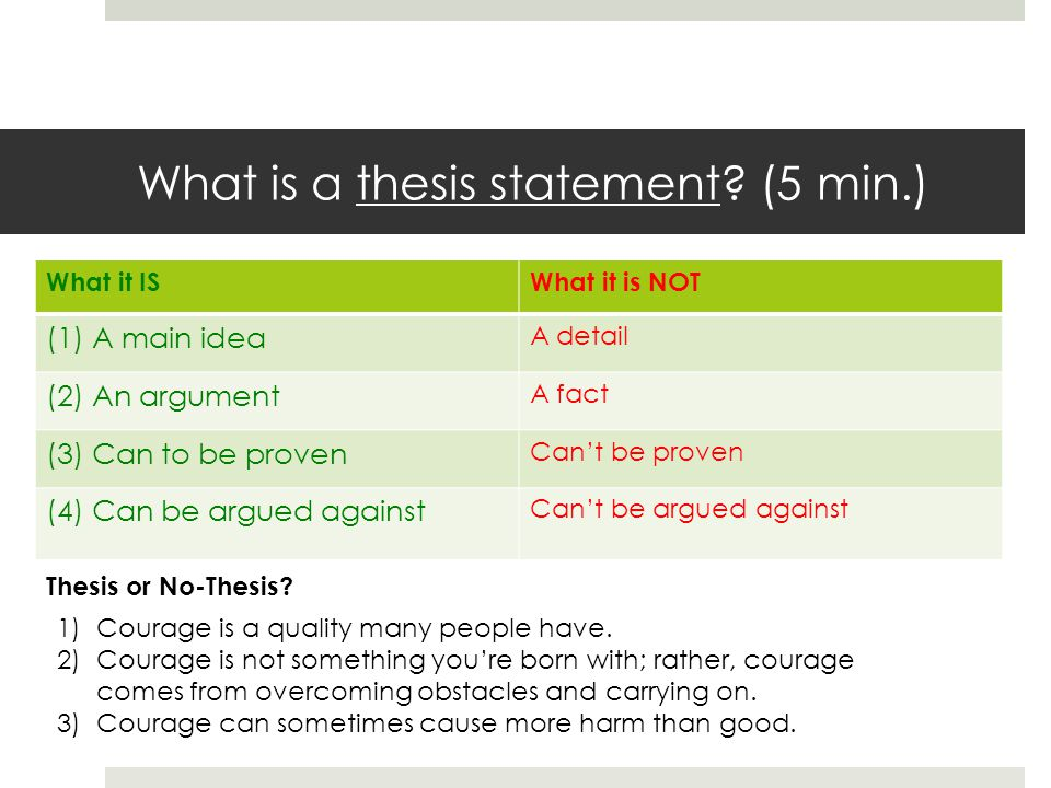 What is a thesis statement? (5 min.) What it ISWhat it is NOT (1) A main idea A detail (2) An argument A fact (3) Can to be proven Cant be proven (4)