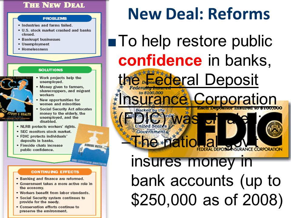 New Deal: Reforms The New Deal created long-term reforms to address weaknesses in the American economy Securities & Exchange Commission (SEC) was created to regulate the stock market & prevent another stock market crash