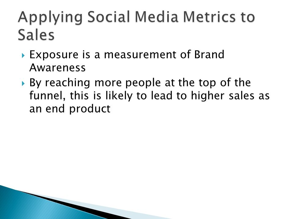 Exposure is a measurement of Brand Awareness By reaching more people at the top of the funnel, this is likely to lead to higher sales as an end product