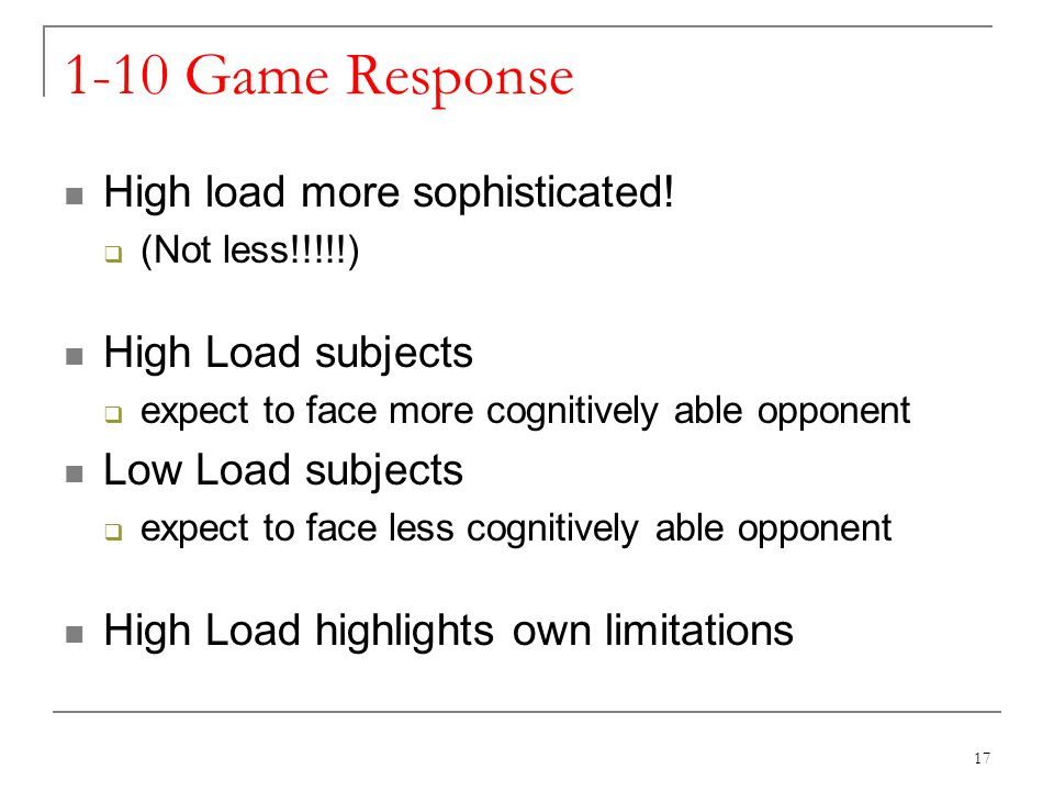1-10 Game Response High load more sophisticated.