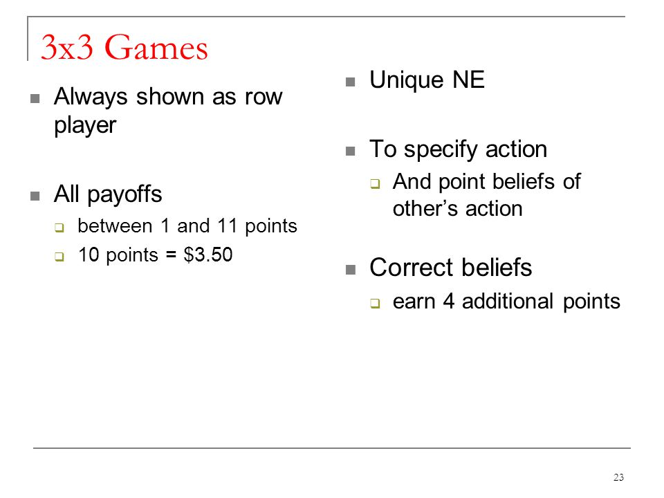 3x3 Games Always shown as row player All payoffs between 1 and 11 points 10 points = $3.50 Unique NE To specify action And point beliefs of others action Correct beliefs earn 4 additional points 23