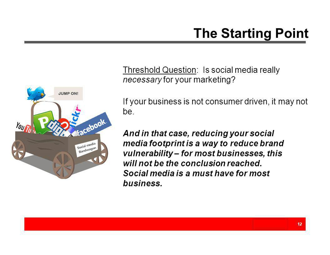 The Starting Point Threshold Question: Is social media really necessary for your marketing? If your business is not consumer driven, it may not be. An