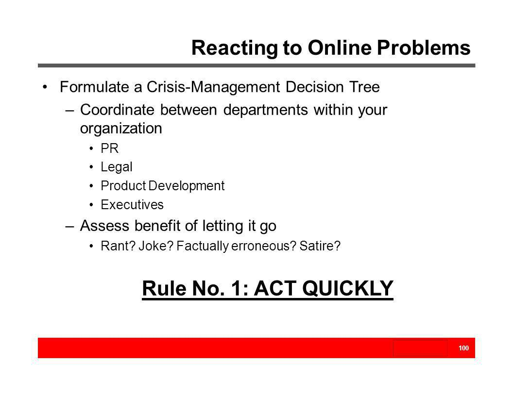 Reacting to Online Problems 100 Formulate a Crisis-Management Decision Tree –Coordinate between departments within your organization PR Legal Product