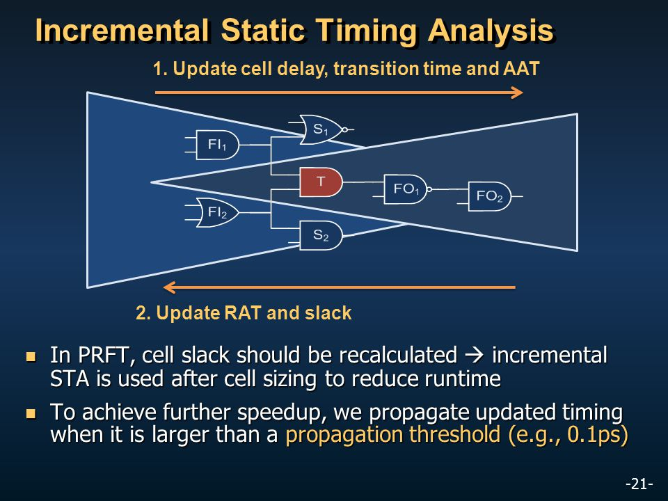 -21- In PRFT, cell slack should be recalculated incremental STA is used after cell sizing to reduce runtime In PRFT, cell slack should be recalculated incremental STA is used after cell sizing to reduce runtime To achieve further speedup, we propagate updated timing when it is larger than a propagation threshold (e.g., 0.1ps) To achieve further speedup, we propagate updated timing when it is larger than a propagation threshold (e.g., 0.1ps) Incremental Static Timing Analysis 1.