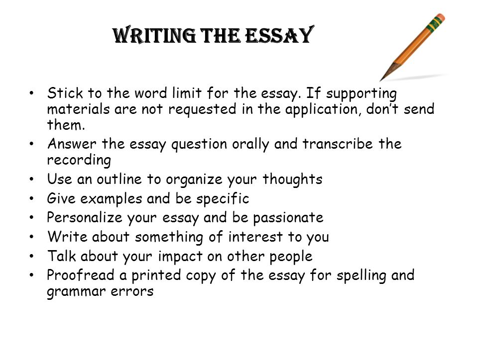 Writing the essay Stick to the word limit for the essay.