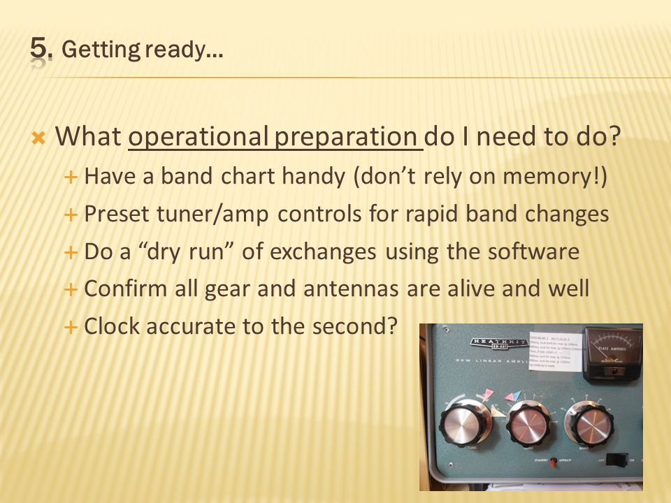 What mental preparation do I need to do? Know the rules, have them handy for referencing (Optional) What is propagation likely to be like? (ARRL Bulle
