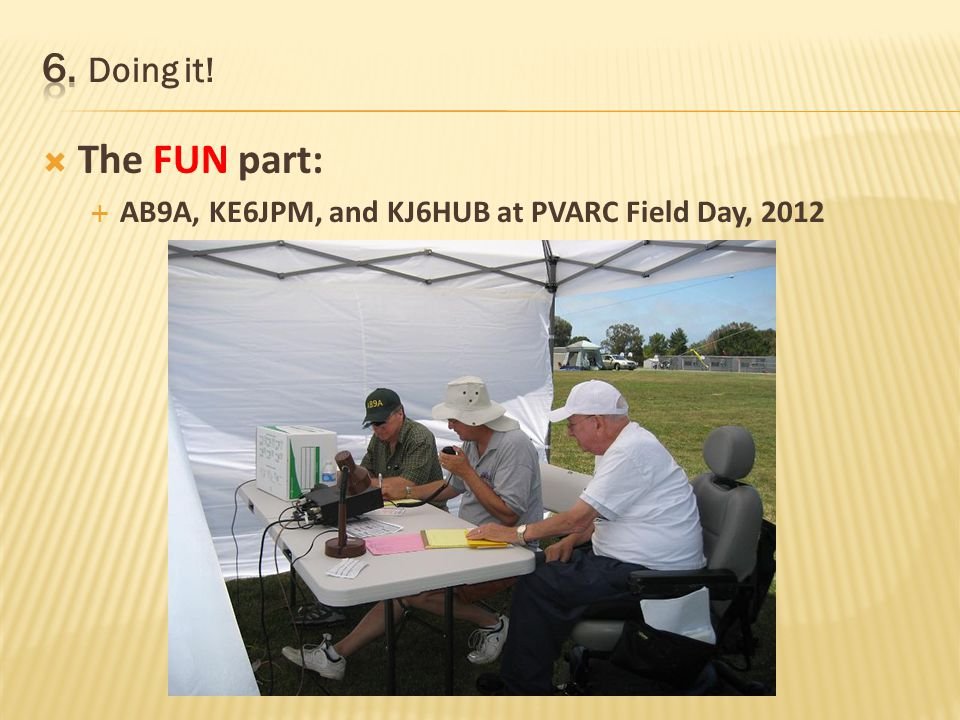The FUN part: Work as a team with other hams – its a great way to get to know club members better (FD, LH, Catalina) Fun and addictive? Will you have