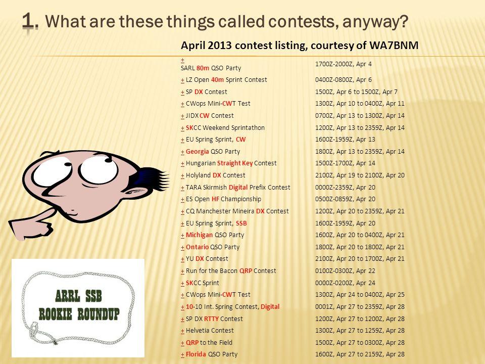 April 2013 contest listing, courtesy of WA7BNM + SARL 80m QSO Party 1700Z-2000Z, Apr 4 ++ LZ Open 40m Sprint Contest0400Z-0800Z, Apr 6 ++ SP DX Contest1500Z, Apr 6 to 1500Z, Apr 7 ++ CWops Mini-CWT Test1300Z, Apr 10 to 0400Z, Apr 11 ++ JIDX CW Contest0700Z, Apr 13 to 1300Z, Apr 14 ++ SKCC Weekend Sprintathon1200Z, Apr 13 to 2359Z, Apr 14 ++ EU Spring Sprint, CW1600Z-1959Z, Apr 13 ++ Georgia QSO Party1800Z, Apr 13 to 2359Z, Apr 14 ++ Hungarian Straight Key Contest1500Z-1700Z, Apr 14 ++ Holyland DX Contest2100Z, Apr 19 to 2100Z, Apr 20 ++ TARA Skirmish Digital Prefix Contest0000Z-2359Z, Apr 20 ++ ES Open HF Championship0500Z-0859Z, Apr 20 ++ CQ Manchester Mineira DX Contest1200Z, Apr 20 to 2359Z, Apr 21 ++ EU Spring Sprint, SSB1600Z-1959Z, Apr 20 ++ Michigan QSO Party1600Z, Apr 20 to 0400Z, Apr 21 ++ Ontario QSO Party1800Z, Apr 20 to 1800Z, Apr 21 ++ YU DX Contest2100Z, Apr 20 to 1700Z, Apr 21 ++ Run for the Bacon QRP Contest0100Z-0300Z, Apr 22 ++ SKCC Sprint0000Z-0200Z, Apr 24 ++ CWops Mini-CWT Test1300Z, Apr 24 to 0400Z, Apr 25 ++ 10-10 Int.