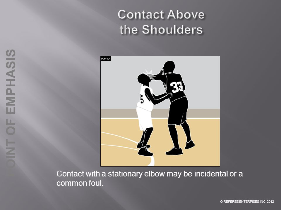 © REFEREE ENTERPISES INC. 2012 POINT OF EMPHASIS Contact with a stationary elbow may be incidental or a common foul. PlayPic ®